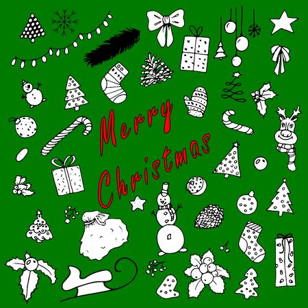 Set of christmas pictures on a green background. Hand-drawn pictures for the new year. Green Greeting Card. Isolated flat vector design. 일러스트
