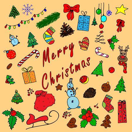 Cartoon christmas illustration. Cartoon flat style. Lettering merry christmas card vector illustration. Greeting card design celebration. Festive decoration element.