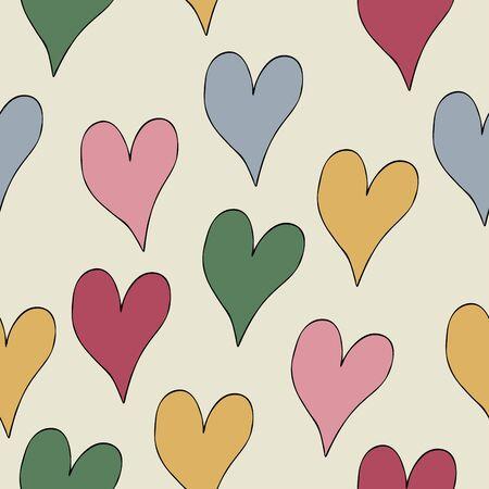 Vektor nahtlose Muster farbige Herzen auf weißem Hintergrund. Vektor handgezeichnete Herzen in Bettfarben. Hintergrund für Design zum Valentinstag.