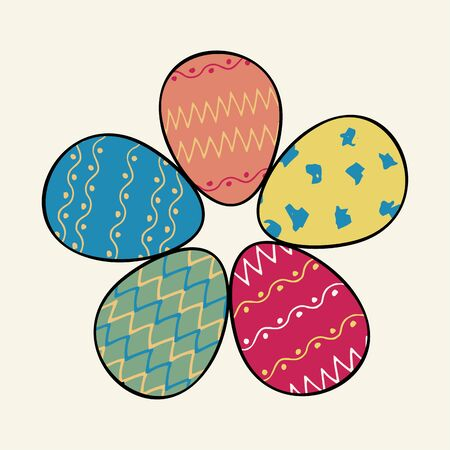 Flower of easter eggs on a white background. Set of eggs in the shape of flower petals. Vector groin eggs for design.