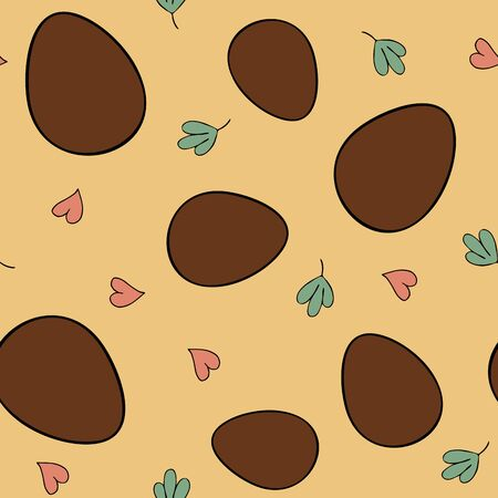 Festive Easter seamless pattern with chocolate eggs and flowers on a yellow background. Vector image. Sweet chocolate eggs for kids for Easter. Background with dainty, hearts and leaves. Cute seamless backdrop for design.