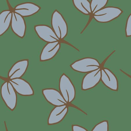 Blue repeating leaflets on a green background. Vector pattern with leaves and flowers. Hand-drawn cute leaflets in cartoon style.