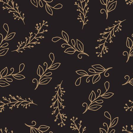Vector Leaves branch. Field foliage seamless pattern. Leaf plant botanical floral foliage. Engraved ink art. Seamless background pattern. Fabric wallpaper print Иллюстрация