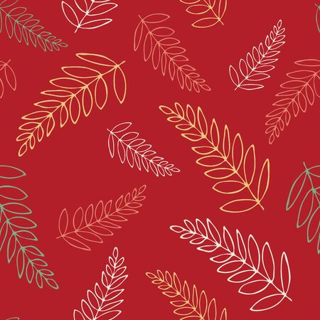 floral backgroundLong repeating contours of leaves. Vector pattern with leaves of house plants. Herbal seamless background pattern. Cartoon summer foliage wallpaper. Иллюстрация