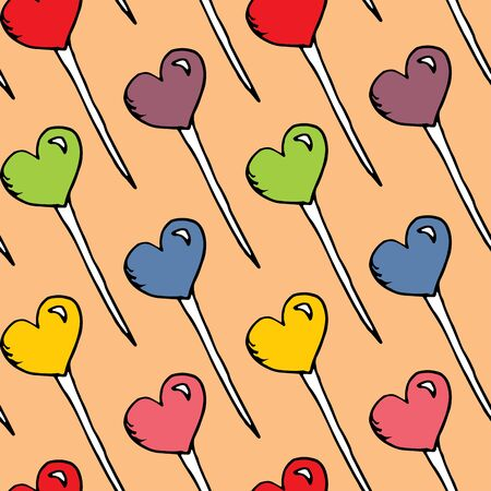 Multicolored candy hearts pattern vector. Seamless vector pattern with lollipops. Textile wrapping for wallpaper design. Cartoon hand-drawn lollipops of different colors