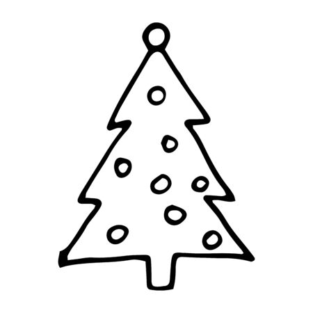 Cute cartoon hand drawn christmas tree drawing. Sweet vector black and white christmas tree drawing. Isolated monochrome doodle christmas tree drawing on white background. Иллюстрация