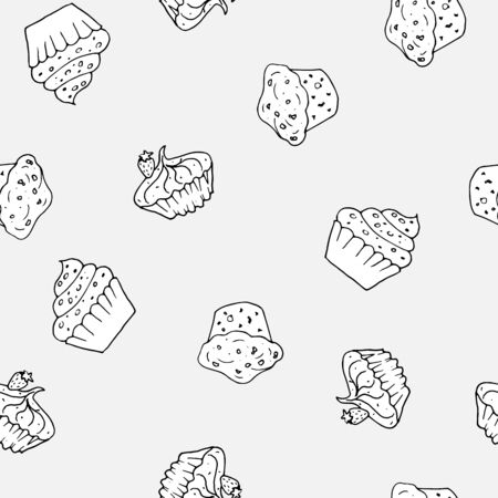 Black and white cupcakes seamless pattern. Hand drawn muffins background. Great for coloring book, wrapping, printing, fabric, textile. Vector illustration