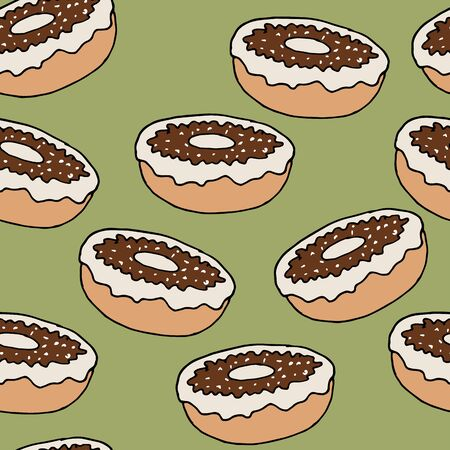 Hand drawn with chocolate donuts seamless pattern on green backdrop. Confectionery illustration. Vector background bakery design. Иллюстрация