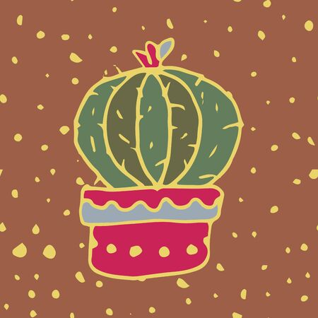 Homemade cactus in a pot. Hand-drawn cactus with flowering against the background of drops of paint. Mexican flora. Succulent plant. Vector bright silhouette illustration. Иллюстрация