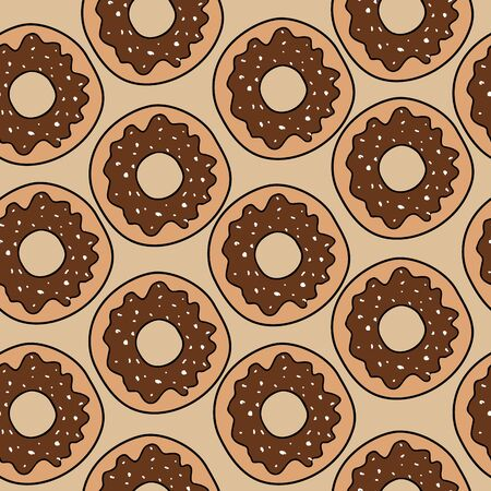 Abstract vector icon illustration logo for glazed sweet donut. Donut pattern consisting of heap of different colored confection doughnuts. Eat tasty cakes donuts, doughnut covered in chocolate cream. Иллюстрация