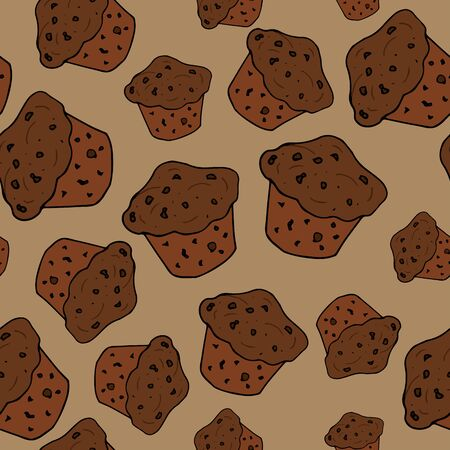 Vector seamless pattern with chocolate muffins on a brown background. Cupcakes with chocolate chips, menu design, cafe, bakery. Delicious background for any purpose.