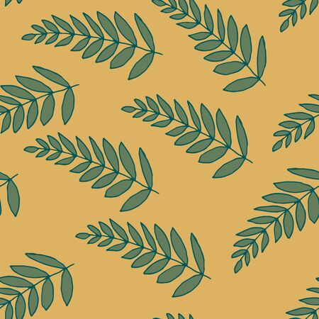 Long repeating leaves. Vector pattern with palm leaves. Leaves of indoor plants. Herbal sketchy seamless background pattern with elements of nature. Cartoon summer foliage wallpaper.