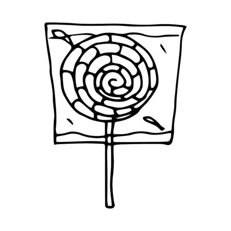 Hand drawn vector doodle cartoon sketch Lollipop on stick for design illustration. Round, striped, black and white lollipop in a wrapper on a white background Ilustracja