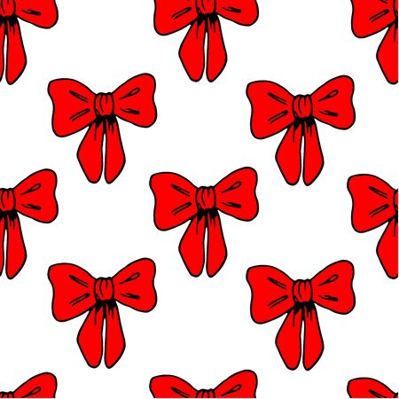 Seamless pattern with cute red ribbon on white background. Elegant gift bow silhouette. Design for surprise, celebration event, presents, birthday, Christmas. Doodle style.