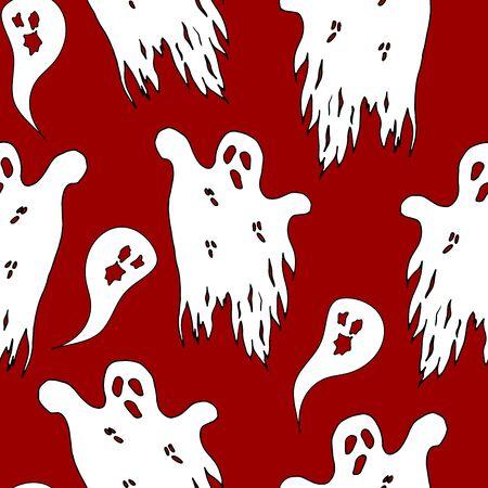 Halloween ghost seamless pattern on red background. Scary halloween ghost pattern background. Halloween theme design vector illustration Иллюстрация