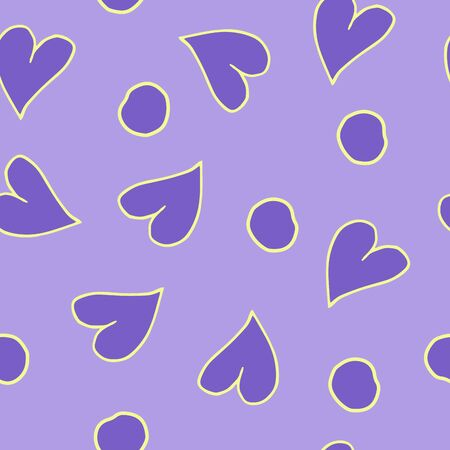 Simple hearts vector patterns. Valentines OR chirstmas day background. Flat design endless chaotic texture made of tiny heart and circle Vector illustration for holiday design.