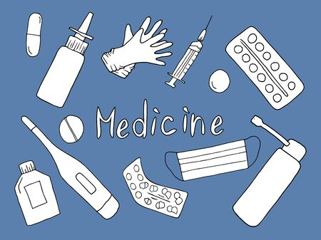 black doodle set of medical supplies on a blue background: thermometer, pills, capsules, medicines, syrup, potion, syringes, injections, doctors bag. Lettering. Vector illustration in cartoon style on the theme of medicine.
