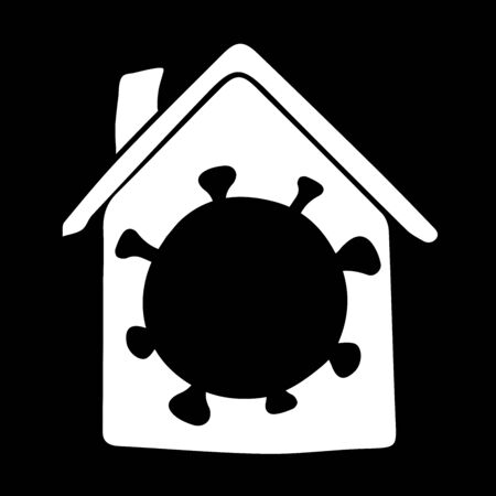 Vector illustration in doodle style. Virus cell inside the house. stay home outline style icon to avoid the mass of people vulnerable to the virus