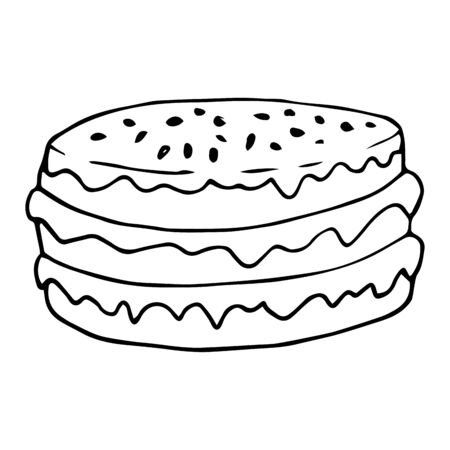Hand drawn cake on a white isolated background. Doodle, simple outline illustration. It can be used for decoration of textile, paper and other surfaces.