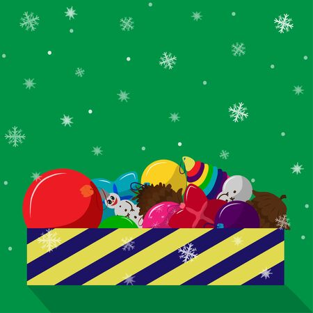 Box of Christmas snow toys in cartoon style on a green background. Snow season Christmas. Christmas background Vector illustration. Striped box of Christmas toys