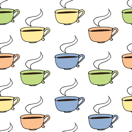 Colored repeating mugs of tea cups on a white background. Vector pattern with circles. Hot coffee drink. Vector illustration. Steam Cup
