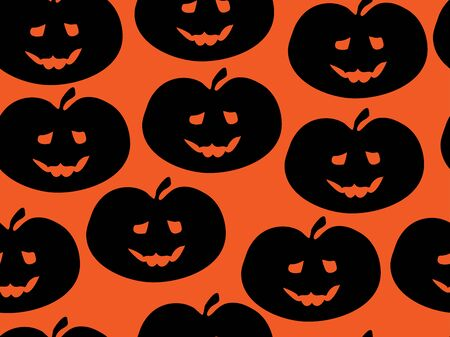 Black silhouettes of a happy pumpkin on an orange background. Halloween vector pattern. Pattern for the design of wallpaper, fabric, wrappers, etc.