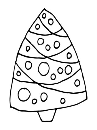 Hand drawn isolated abstract Christmas Tree. Christmas tree drawn in doodle style. Christmas coloring on a white background. Childs drawing