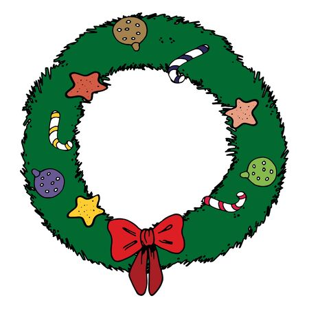 Vector illustration of Christmas wreath single element. Black outlines isolated on white background. Doodle style. Christmas motifs. Decoration for greeting cards, gifts, wrapping paper etc. Иллюстрация