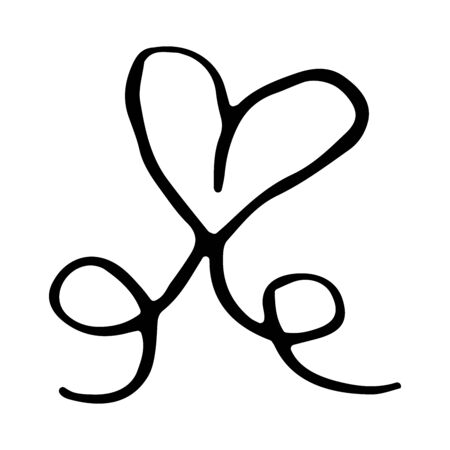 Hand drawn heart with a bow. Decor element. Valentine's day card, element template and love symbol. Vector clip art isolated on white background. Doodle heart shaped bow