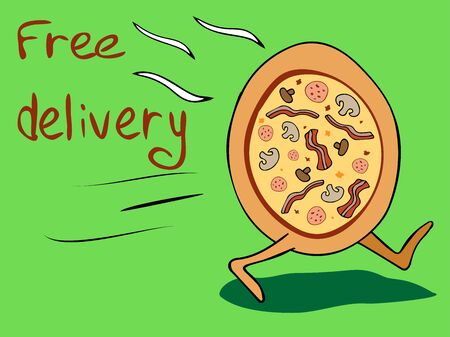 Hot pizza with legs. Free delivery. Lettering. Drawing in cartoon style. Manual vector illustration in the style of the contour of the doodle. The concept of international delivery, mail, online shopping, buying goods.