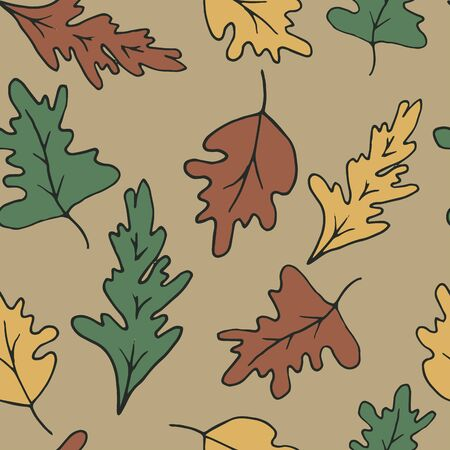 Seamless background with yellow and orange oak leaves. Autumn background for design. Dark pattern with leaves. Иллюстрация