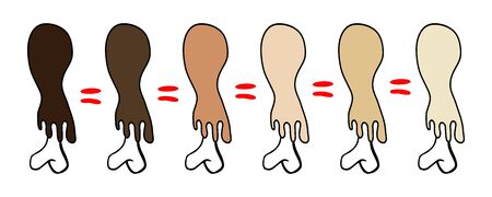 The skin of different colors is stretched over the bones. Equal sign. Equality of people regardless of skin color ,Hand drawn,Vector,Illustration,Doodle. Иллюстрация