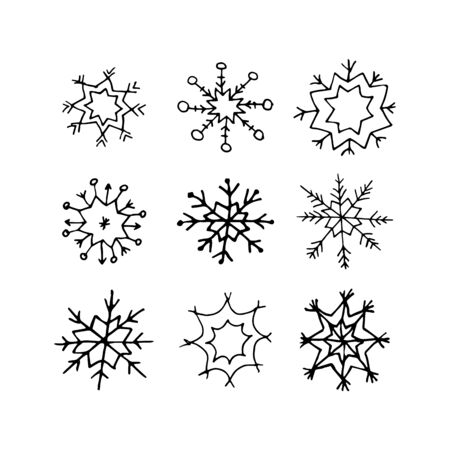 Set of doodle Christmas snowflake isolated on white. Vector illustration. Hand drawn snowflakes in black