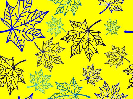 Seamless hand-drawn pattern of abstract autumn leaves with patterns, blue contour on a yellow background, textile design, packaging, covers for notebooks Иллюстрация