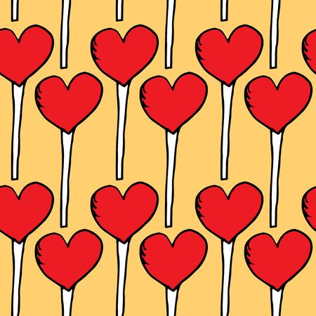 Texture of lollipops in the shape of a heart on a yellow background. Cute red lollipops repeating on a light background. Red lollipops hearts Ilustracja