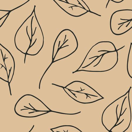 Cute cartoon leaf pattern with hand drawn leaves. Sweet vector black and white leaf pattern. Seamless monochrome doodle leaf pattern for textile, wallpapers, wrapping paper, cards and web.