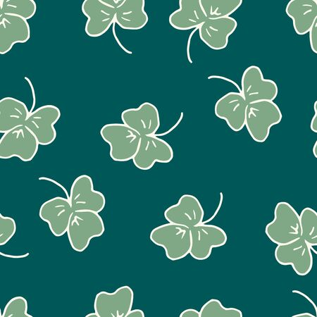 Saint Patrick day seamless pattern - shamrock or clover leaves, abstract floral ornament, simple shapes traditional holiday vector background for wrapping, textile, digital paper Иллюстрация