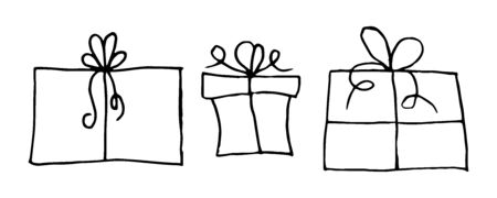 Set of hand drawn gift boxes. Gifts with bows drawn by hand in doodle style. Set of gifts on a white background. Can be used for design cards for Christmas, birthday, Valentine's day, etc. Иллюстрация