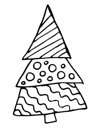 Christmas tree drawn in doodle style. Christmas coloring on a white background. Child's drawing