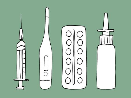 vector set, medical supplies in doodle style. Syringe, thermometer, pills, spray for the nose. Hand-drawn medicines. First aid for illness. A set of doctors to treat patients.