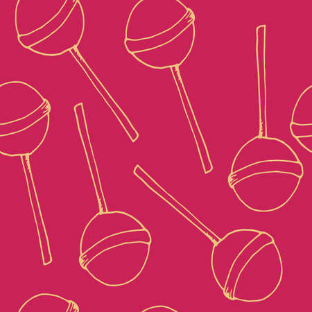 Round lollipop on a stick. Pattern from the contour of sweets. Vector seamless pattern for any web design best. Sweet background with caramel. Иллюстрация