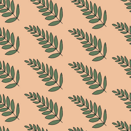 Long repeating leaves. Vector pattern with leaves of house plants. Herbal sketchy seamless background pattern with elements of nature. Cartoon summer foliage wallpaper.