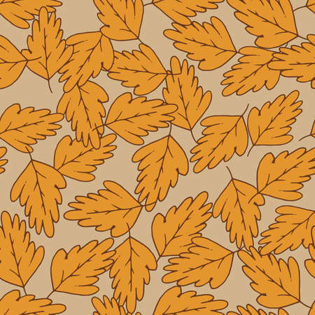 Leaves hand drawn color vector seamless pattern. Cartoon leafage flat illustration. Decorative textile, wallpaper, wrapping paper design idea. Orange foliage on yellow background. Иллюстрация