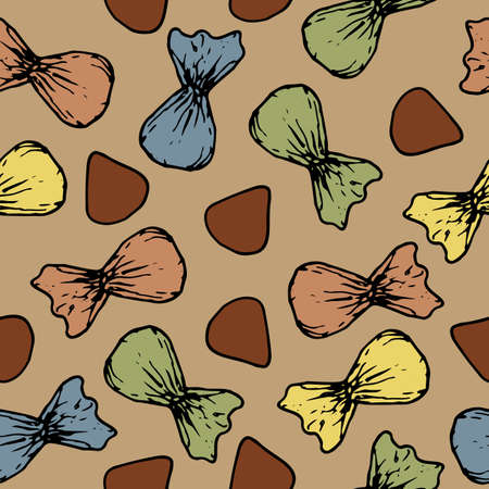 Chocolate candies in color wrapper, vector seamless pattern. Delicious sweets for design. Иллюстрация