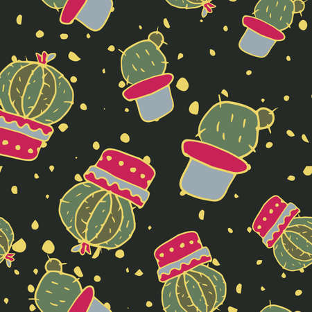 Vector seamless pattern with cacti and drops of paint on a dark background. Modern design for fashion, print, poster, postcard, textile. Scandinavian style