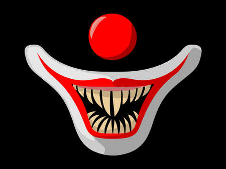 The muzzle of a clown on a black background. Cartoon scary movie poster with creepy clown face. Red clown nose and mouth with fangs. Halloween vector illustration.