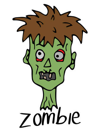 Zombie head on a white background. Character for halloween in doodle style. Cartoon zombie with an inscription. Иллюстрация