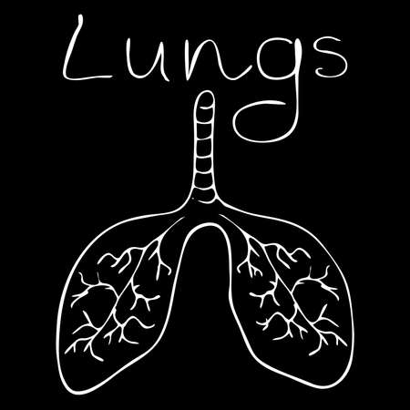 Human lungs. Doodle icon. Drawing by hand. Vector illustration.Contour illustration of the lungs on a black background in cartoon style. Lettering