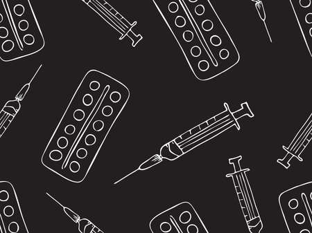 pattern of drugs, syringes and pills. Medical supplies: syringe and pills. Freehand drawing in vector format. Doodle background on the theme of medicine. Иллюстрация