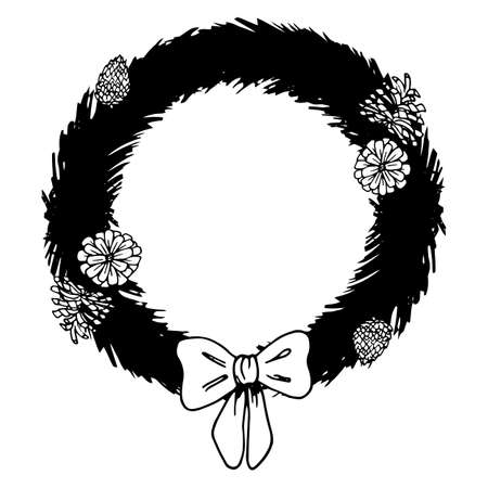 Christmas wreath. Colorless background. Coloring book for children. Christmas. New Year. Holiday print.